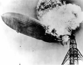 The Hindenburg catching fire on May 6, 1937 at Lakehurst Naval Air Station