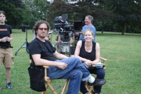 "Elisabeth Shue and Davis Guggenheim on the set of ""Gracie"""