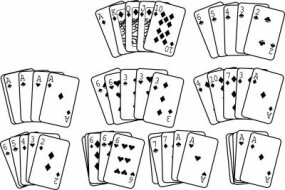 These are all examples of winning hands for video poker. They include: Top row: royal flush, straight flush Middle row: four of a kind, full house, flush Bottom row: staright, three of a kind, two pair, jacks or better