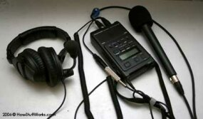 This Marantz PMD-660 digital recorder and Sennheiser HMD-280 headphones with mic. Used primarily to record interviews to supplement the musical performances