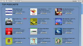 The Top Podcasts page in the iTunes Store.