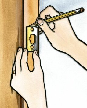 Insert the bolt assembly and trace its outline over the edge of the door; remove excess wood to mount the assembly.