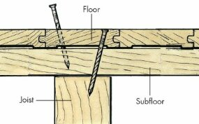 If you cannot access the underside of the floor, angle the flooring nails from above into a joist, then fill the nail holes with wood putty.