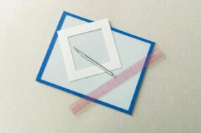 Measure and mark a 4x4-inch square on heavy paper or cardstock.