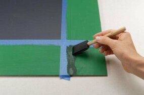 Paint the corners with a foam brush.