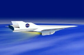 Artist's concept of the X-43A in flight, with the scramjet engine firing