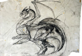 An early sketch of the dragon Smaug