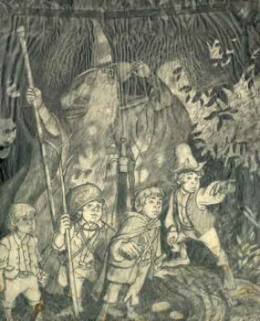 The original sketch for Gandalf and the hobbits that the Hildebrandt brought to Ballantine books in 1975