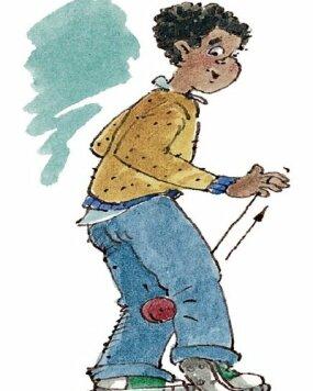 Jerk the string so that the yo-yo 'bites' your leg.