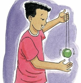 Slip the string into the groove of the spinning yo-yo.