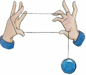 Bring your yo-yo hand thumb up to the string.