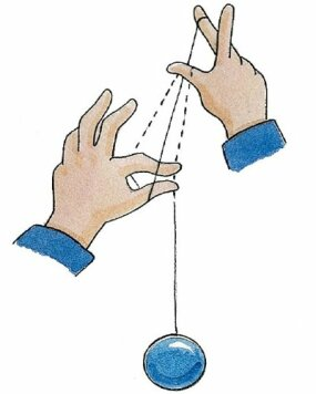 Reach over with your free hand and grab the yo-yo string.