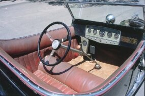 The Isky T interior featured the naugahyde upholstery and Auburn dash panels commonly seen in prewar hot rods.