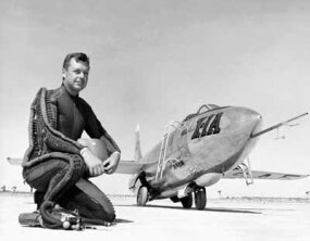 "On August 26, 1954, Major Arthur ""Kit"" Murray set an altitude record of 90,440 feet in the Bell X-1A. He is shown here in the protective pressure suit of the time."