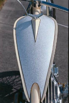 A driver's-eye view of the fuel tank on the Johnny Walker chopper.