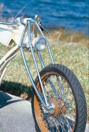 The Johnny Walker chopper's wheels are finished in brown -- part of the bike's unusual color combination.