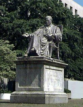 This statue of former Chief Justice John Marshall, possibly the most influential justice in the Supreme Court's history, is located in John Marshall Park, next to the United States Courthouse.