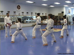 Master instructor Rob Olevsky leads karatekas through practice exercises.