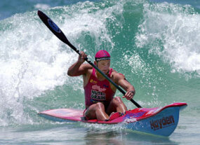 Steven Meredith in action during the men's Surf Ski race at the National Surf League competition held at Surfers Paradise Beach on the Gold Coast, Australia.