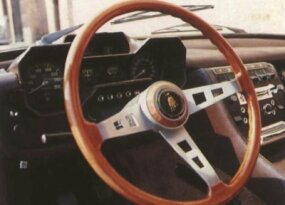 Featuring a messy but functional instrument panel and a sloping center console, the Espada's interior shows the progress in design Lamborghini is famous for.