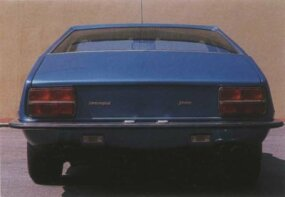 The rear of the Lamborghini Jarama shows off the wheelbase which, while still wide, shaved almost 11 inches off the Lamborghini Espada,  on which it was based.