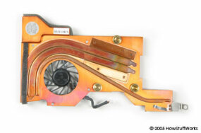 A laptop heat sink and fan