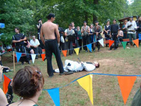 Image courtesy Jennie Breeden/Geebas on Parade                                            A LARP's rules have to cover what happens when a                                            character dies.