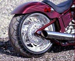Unique wheel designs of the Legend chopper.