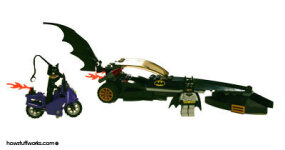 The Batmobile Dragster starts as several small bags of parts and a set of instructions.