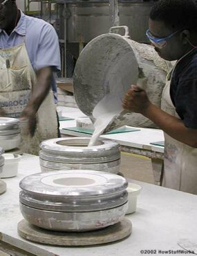 Pouring the plaster mold