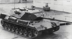 The Leopard 1A3 MBT wears a new, all-welded, spaced-armor turret. Note the wedge-shaped mantlet, distinguished from