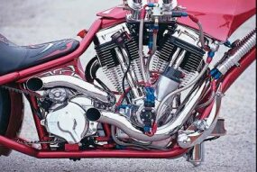 The intricate engine of the Lethal Injection Chopper.