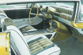 Bud Millard restored the interior of the Limelighter which still sports the original 1950 Nash instrument pods.