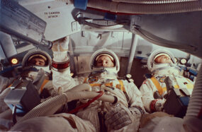 Virgil Grissom, Edward White and Roger Chaffee were killed during a preflight test for the aborted Apollo 1 mission at Cape Kennedy, Fla.