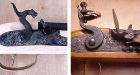 A percussion-cap gun (left) and a flintlock gun (right), two important steps on the way to modern firearms