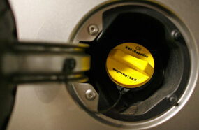The yellow fuel cap on this 2007 Chevrolet Impala lets consumers know they can fill the tank with gasoline or E85.