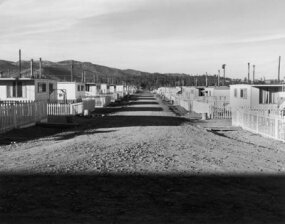 Simple housing for the workers involved in the Manhattan Project at Los Alamos, N.M.