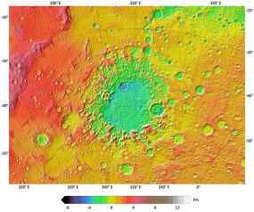 Argyre impact basin on Mars