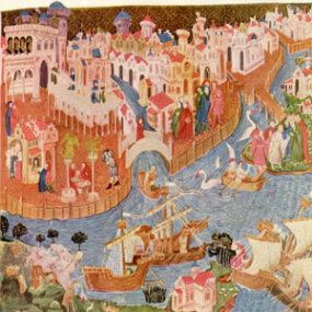 This print from a 14th-century miniature shows the Polos leaving Venice en route to China.