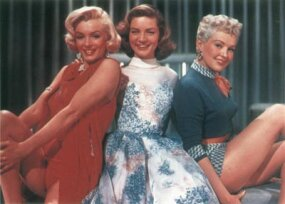 Lauren Bacall (center), a disciplined actress and a full-fledged Hollywood star by the time she was 20, was less tolerant than Betty Grable (right) of Marilyn's onset anxiety. Yet Bacall was touched by Marilyn's vulnerability.