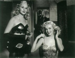 Marilyn had a nice on-screen rapport with top-billed Adele Jergens, who is best remembered for her frequent portrayals of worldly glamor girls and gun molls.