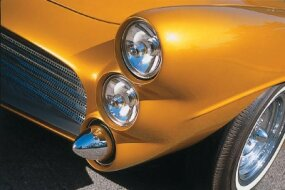 The front end of the Marquis features Lucas headlights and bullet bumperettes.