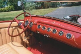 The dash of the McGowan Brothers' Roadster was taken from the 1940 Ford. It was painted Buick Tahitian Red with the same tasteful pinstriping featured on the body.