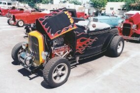 The Street Rodder staff's version of the McMullen Deuce in a 2002 L.A. Roadster Show. See more hot rod pictures.