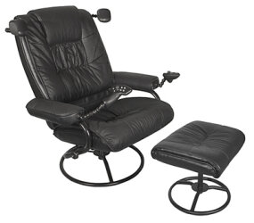 The Ultimate Game Chair is a leather recliner with built-in controllers and vibration motors.