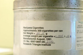 A tin canister used by the U.S. government to provide medical marijuana to patients like Irv Rosenfeld. Rosenfeld is one of seven patients who currently receive medical marijuana grown and legally provided by the federal government.