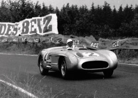 Juan Manuel Fangio took the race win in a 300 SLR at the 1955 Swedish Grand Prix.