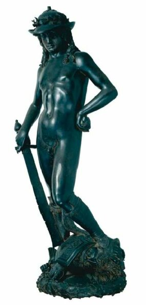 Donatello, David, bronze (probably 1430s). This may be the earliest known freestanding nude statue since antiquity. Michelangelo once studied under Donatello's former assistant, Bartholdi DI Giovanni.