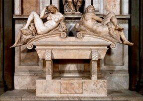 Console detail of the tomb of Giuliano de' Medici by Michelangelo.