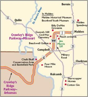 This map will guide you along Crowley's Ridge Parkway.